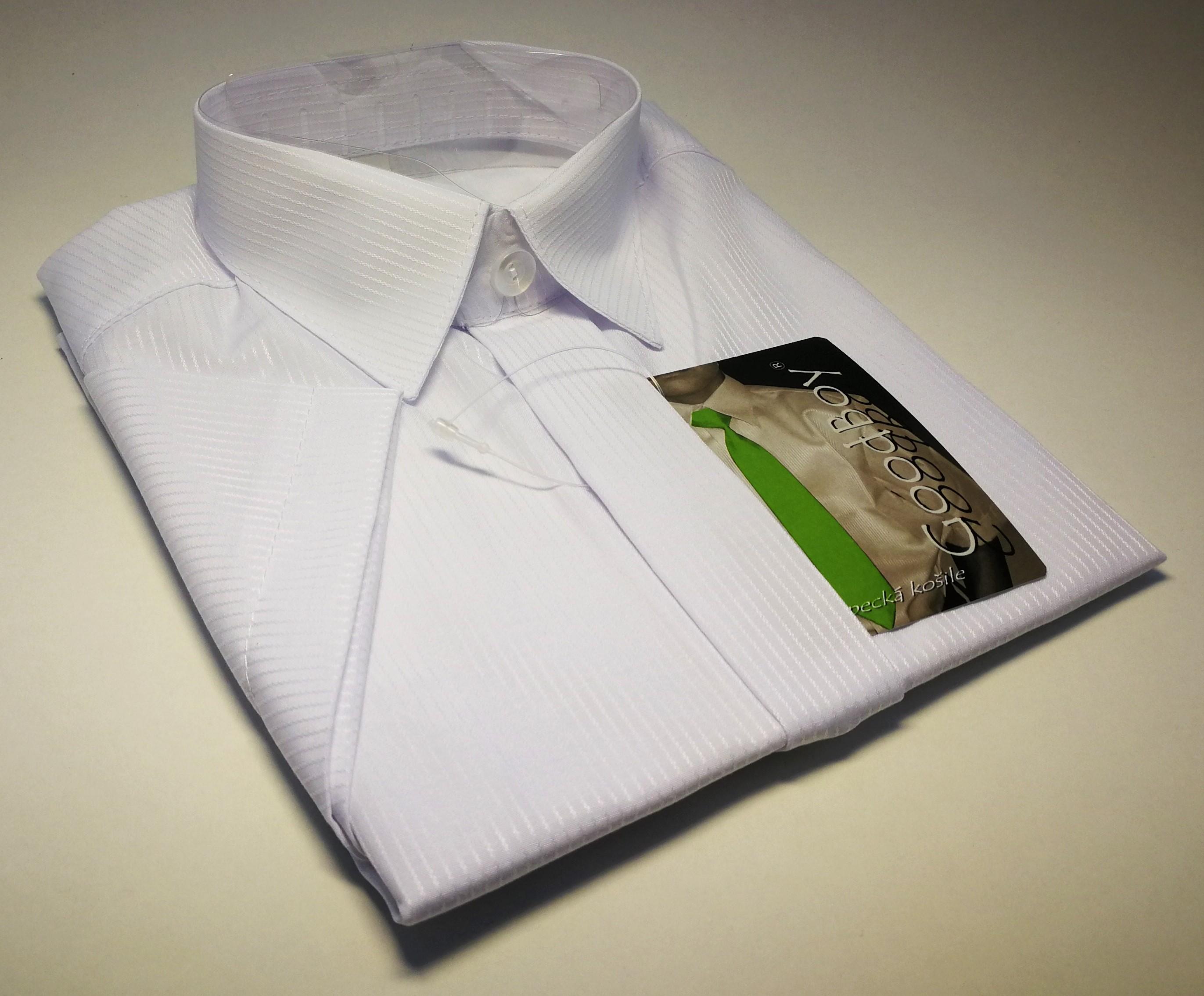 40b48156697 Chlapecká košile kr.ruk. bílá s proužkem v.128-140